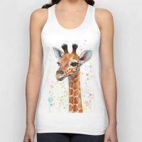giraffe Tank Tops featuring Giraffe Baby by Olechka