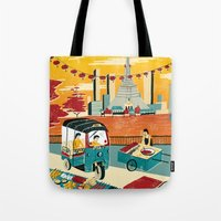 thailand Tote Bags featuring Bangkok, Thailand by Sam Brewster