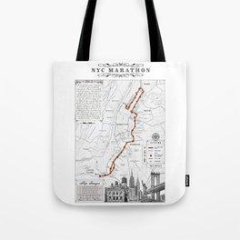 New York City Black & White {marathon course} map 26.2 Tote Bag