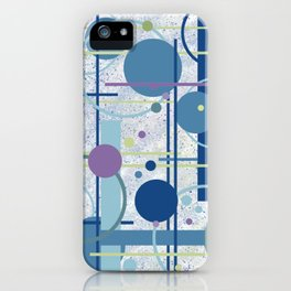 Mid Century Modern Abstract, Blue, Teal iPhone Case