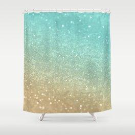 Sparkling Gold Aqua Teal Glitter Glam #1 #shiny #decor #society6 Shower Curtain
