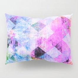 Pink/Blue Geometric Grungy Diamond Pattern Pillow Sham