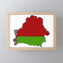 Belarus Map with Belarusian Flag Framed Mini Art Print
