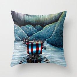 Drakkar in Norse Fjord Ft. Aurora Borealis Throw Pillow