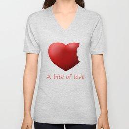 a bite of love (nibbled heart) pink Unisex V-Neck