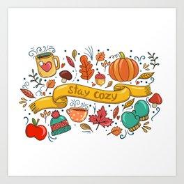 Stay Cozy in Autumn Art Print