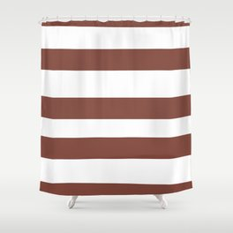 Inspired by Dunn Edwards Spice of Life DET439 Hand Drawn Fat Horizontal Lines on White Shower Curtain