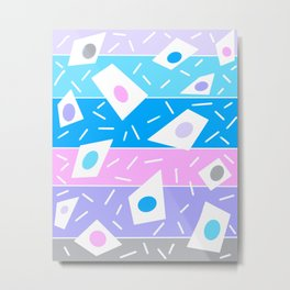 Summer garden blues and lavender geometric abstract stripe Metal Print