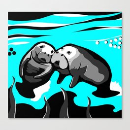 Manatee Love in blue Canvas Print