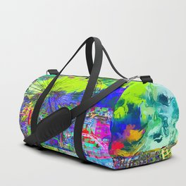 ferris wheel and buildings at Santa Monica pier, USA with colorful painting abstract background Duffle Bag