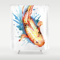 koi Shower Curtains featuring Koi by Sam Nagel