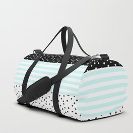 Modern black white teal stripes watercolor polka dots Duffle Bag