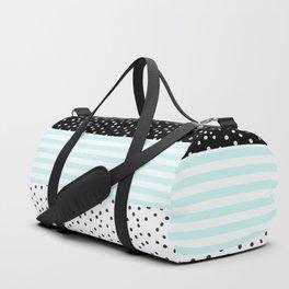 Modern black white teal stripes watercolor polka dots Duffle Bag