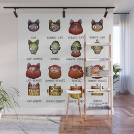 Cat Zombie Pirate Robot Wall Mural