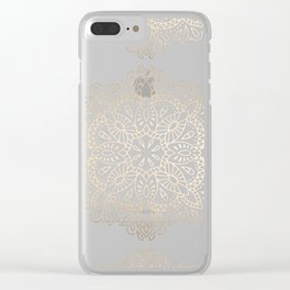 Mandala White Gold Shimmer by Nature Magick Clear iPhone Case