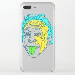 Einstein Line Art | Painting | Print | Poster | Albert Einstein Tongue Out Cartoon Clear iPhone Case