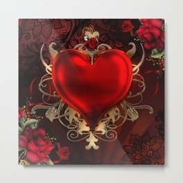 Gothic Red Rose Heart Metal Print