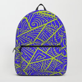Purple Teal Line Pattern Accented By Lemon Lime Backpack