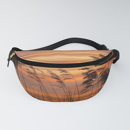 Sunrise at Dutch polder   Photo art print of colored skies reflected in water Fanny Pack