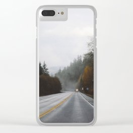 Overcast Fall Road Clear iPhone Case
