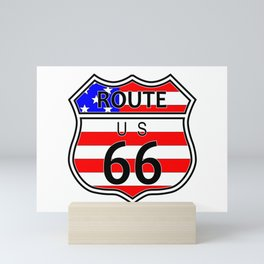 Route 66 Highway Sign With Flag Mini Art Print