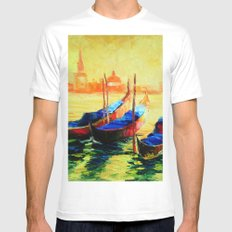Golden Evening in Venice MEDIUM Mens Fitted Tee White