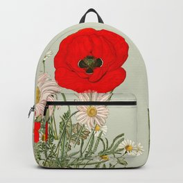 A country garden flower bouquet -poppies and daisies Backpack