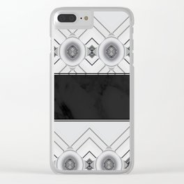 Modern Black and White Marble Geo Pattern Clear iPhone Case