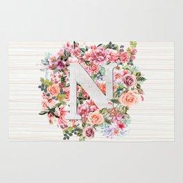 Initial Letter N Watercolor Flower Rug