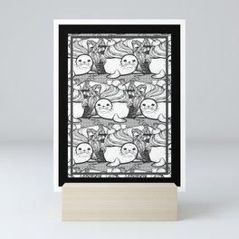 Sundae Seal Line Art Illustration in a Seamless Pattern Mini Art Print
