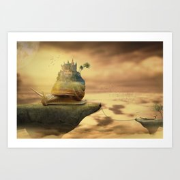 The Snail With The Castle Back Pulls The World Art Print