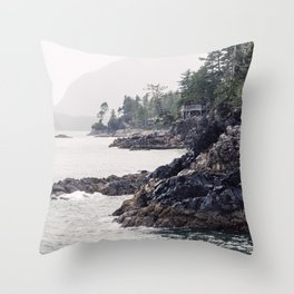 A Rainy Day on the Coast of Pacific Ocean in Tofino, British Columbia Throw Pillow
