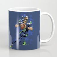 seahawks Mugs featuring Russell Wilson QB 3 Seattle Seahawks by Akyanyme