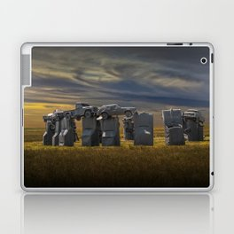 Sunset at Car Henge in Alliance Nebraska Modeled after England's Stonehenge Laptop & iPad Skin