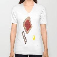 breakfast V-neck T-shirts featuring Breakfast by Sartoris ART