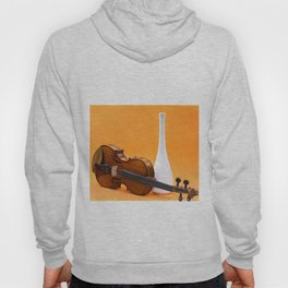 Still life with violin and white vase on an orange Hoody