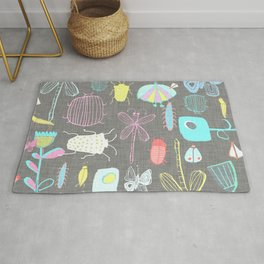 Insect watercolor grey textile texture Rug