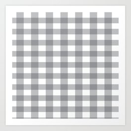 Gray and White Buffalo Plaid Pattern Art Print