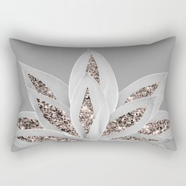 Gray Agave with Rose Gold Glitter #1 #shiny #tropical #decor #art #society6 Rectangular Pillow