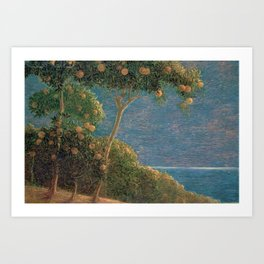 Classical masterpiece Sunset in Liguria by Geotano Previati, 1912 Art Print
