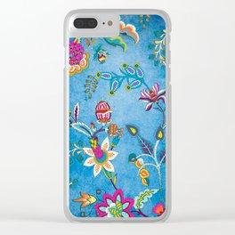 Blue Lapis Velvet Texture Chintz Multicolour Bohemian Floral Pattern Clear iPhone Case