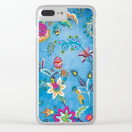 Blue Lapis Velvet Texture Chintz Multicolour Bohemian Floral Pattern Clear iPhone Case