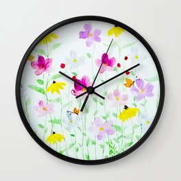 Wildflower meadow Wall Clock