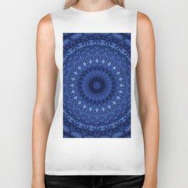 Mandala in deep blue tones Biker Tank