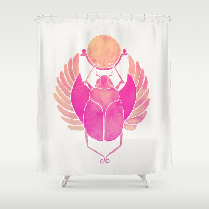 Egyptian Scarab – Pink Ombré Shower Curtain