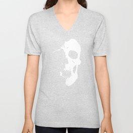 Skull - White Unisex V-Neck