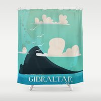 travel poster Shower Curtains featuring Gibraltar vintage Travel poster by Nick's Emporium Gallery