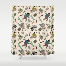 On the freedom experienced by Desert Bike Harpies.   Shower Curtain