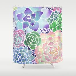 Masked Flora Collection Succulents Shower Curtain