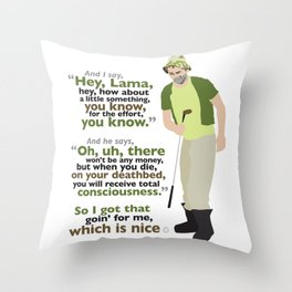 Carl Spackler and the Lama Throw Pillow